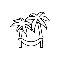 Hammock on palm icon. Beach and vacation icon vector illustration