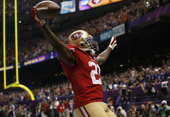 San Francisco 49ers running back Frank Gore celebrates his third quarter touchdown against the Baltimore Ravens in the NFL Super Bowl XLVII football game in New Orleans