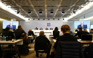 Deutsche Bank board members address news conference in Frankfurt