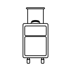 black silhouette with suitcase of traveler vector illustration