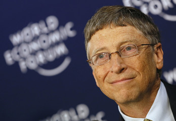 Microsoft founder and philanthropist Gates addresses delegates during annual meeting of WEF in Davos