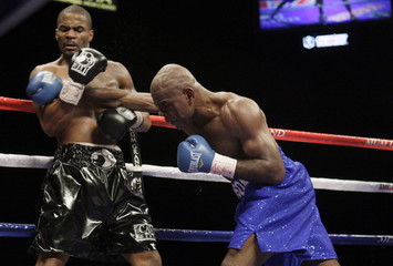 Allan Green takes a hit from Glen Johnson during a super middleweight fight at the MGM Grand Garden Arena in Las Vegas