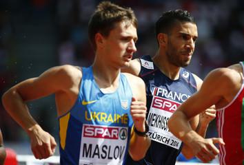 Mekhissi-Benabbad of France and Maslov of Ukraine compete in men's 1500 metres heat during European Athletics Championships in Zurich
