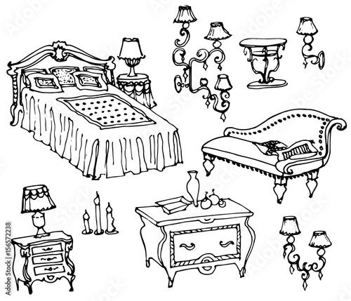 """""""sketch Of Bedroom Furniture, Bed, Dresser, Nightstand"""