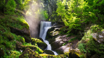 Printed roller blinds Waterfalls Black Forest - Triberg Waterfall with vapour and sunshine