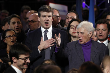 Montebourg, French Socialist party and candidate in their first-round presidential primary election, and French humorist Bedos attend a political rally as he campaigns in Paris