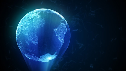 3d illustration abstract globe with particles and plexus structure. copy space