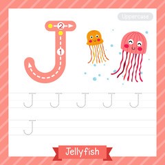 Letter J uppercase tracing practice worksheet with jellyfish for kids learning to write. Vector Illustration.
