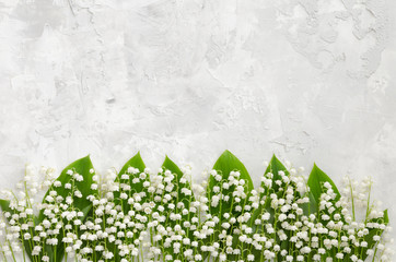 Photo sur Plexiglas Muguet de mai Lilies of the valley on a concrete texture, lying in a row