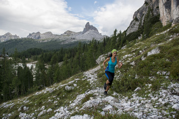 Italy, Dolomites, Veneto, trail runner at Federa Lake