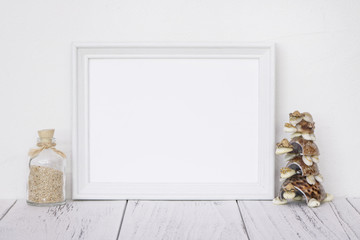 Stock photography white frame vintage painted wood table glass bottle turtle seashell craft decoration