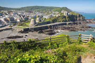 Wall Mural - Ilfracombe North Devon England UK tourist destination in summer with blue sky
