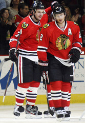 Chicago Blackhawks' Seabrook celebrates his goal with teammate Keith during their NHL hockey game against the Detroit Red Wings in Chicago