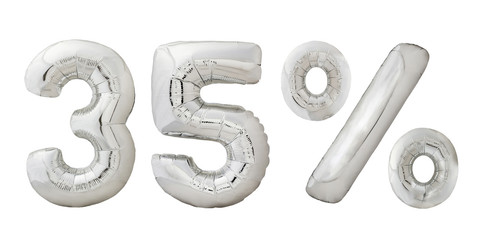 Thirty five 35 percent chrome metallic color balloons isolated on white background