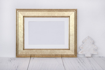 Stock photography golden picture frame craft decoration mock up for text message