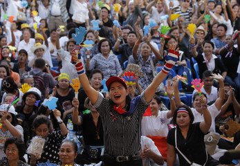 A protester uses a noise maker as she gestures during a rally in central Bangkok