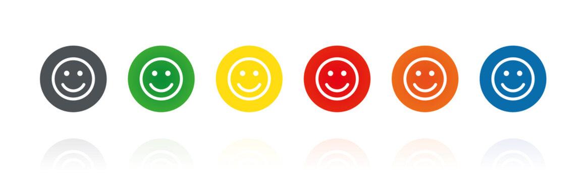 Lächelndes Smiley - Farbige Buttons
