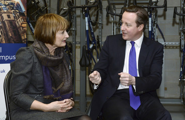 Britain's Prime Minister Cameron talks with opposition party politician Jowell before his speech urging Scotland to remain part of the UK at the Olympic Park in east London