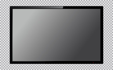 Realistic TV screen. Computer monitor display mockup. Blank television template. Vector illustration.