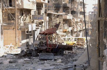 A general view of the destruction at al-Arqoub neighbourhood, after clashes between Free Syrian Army fighters and regime forces in Aleppo city