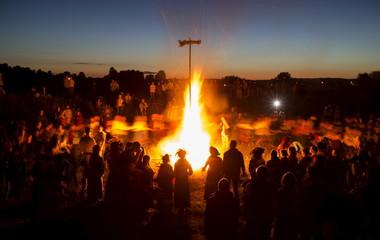 Belarusian people take part in the Ivan Kupala festival near the town of Rakov