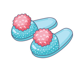 Blue home slippers with pink pompoms isolated.