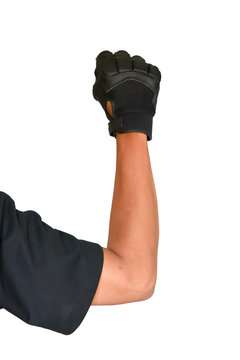 Motorcycle glove and hand signal slow down or stop isolated on w