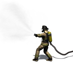 Firefighter with water hose - isolated on white background - 3D illustration