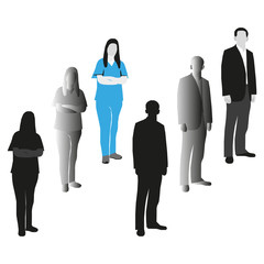 vector image silhouettes of women and men