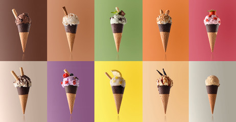 Assortment of natural fruit ice cream in a pattern