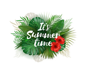 It's Summer time wallpaper with tropical plants background. Vector art picture. Poster template.