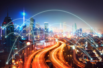 Network connection concept with modern city skyline and futuristic city skyscraper image double...