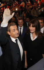 Nicolas Sarkozy, former head of the Les Republicains political party, attends a political rally in Paris