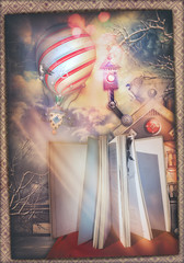 Photo sur Plexiglas Imagination Fairytales book with enchanted landscape and hot air balloon