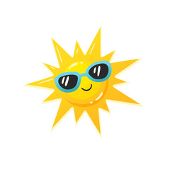 Bright cartoon sun in sunglasses icon. Colorful smiling sun symbol  isolated on white background. Vector illustration.