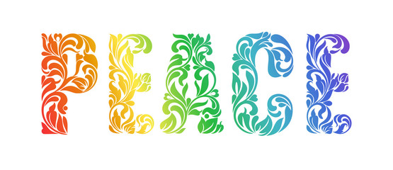 PEACE. Decorative Font made in swirls and floral elements isolat