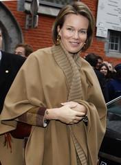 Belgian Princess Mathilde leaves Public Social Aid Center in Mons
