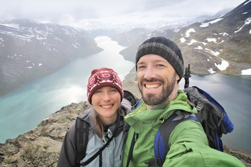 Couple selfie in Norway - active vacation