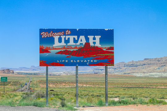 Welcome to Utah sign.