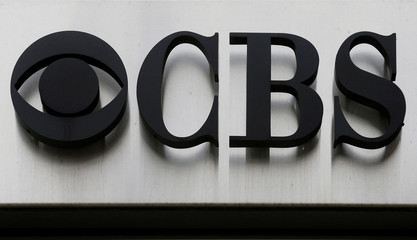 """The CBS """"eye"""" and logo are seen outside the CBS Broadcast Center on West 57th St. in Manhattan, New York"""