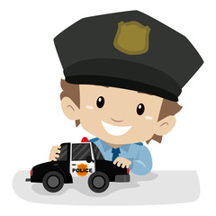 Vector Illustration of a Little Boy wearing a Police uniform while playing Police Car