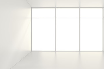 Empty white room interior office. 3d rendering.
