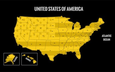 usa map gold