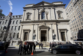 The casket of actor Philip Seymour Hoffman arrives at St. Ignatius church for his funeral in the Manhattan borough of New York