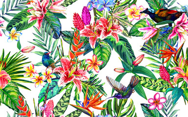 Seamless tropical floral pattern. Hand painted watercolor exotic leaves, flowers and birds, on white background. Textile design.