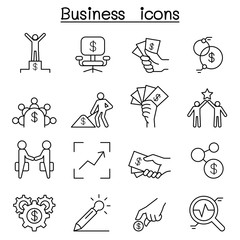 Business idea icon set in thin line style