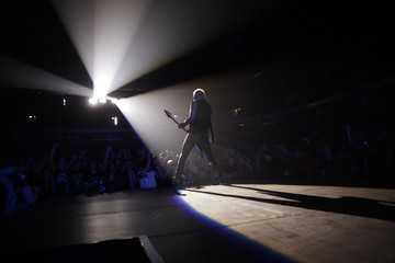 """Rudolf Schenker of """"Scorpions"""" performs on stage in Vilnius during their """"Get your sting and blackout world tour\"""