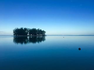 Small motu in the lagoon of Moorea in the very early morning, Moorea, Tahiti, French Polynesia
