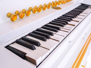 The piano keyboard of the classic white.