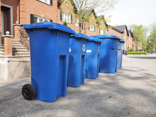 blue bins ready for pickup.